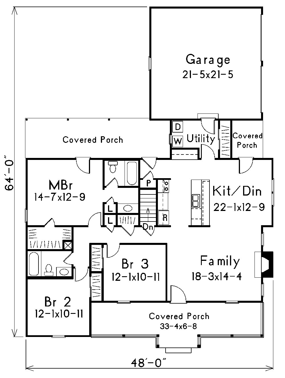 Traditional house plan 138 1014 3 bedrm 1501 sq ft home for Country style floor plans