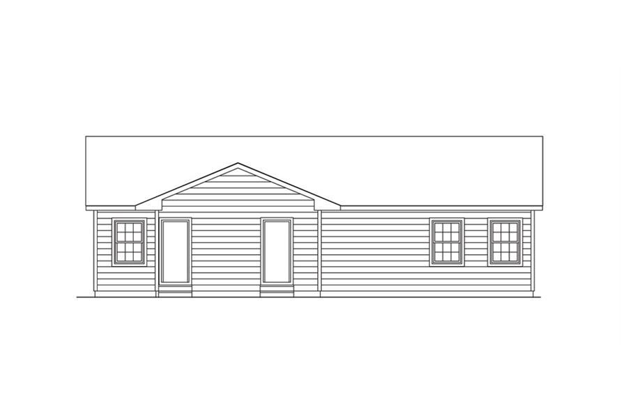 138-1019: Home Plan Rear Elevation