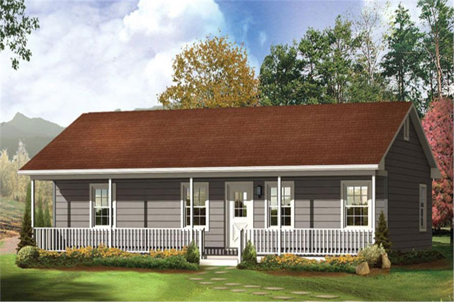 Front elevation of Ranch home (ThePlanCollection: House Plan #138-1019)