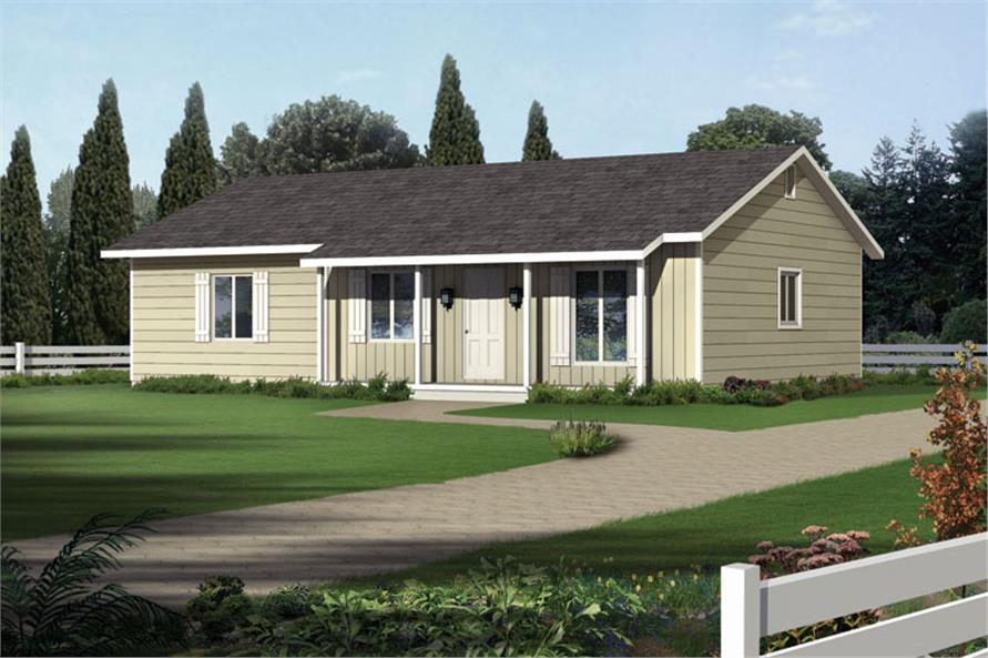 Front elevation of Ranch home (ThePlanCollection: House Plan #138-1020)