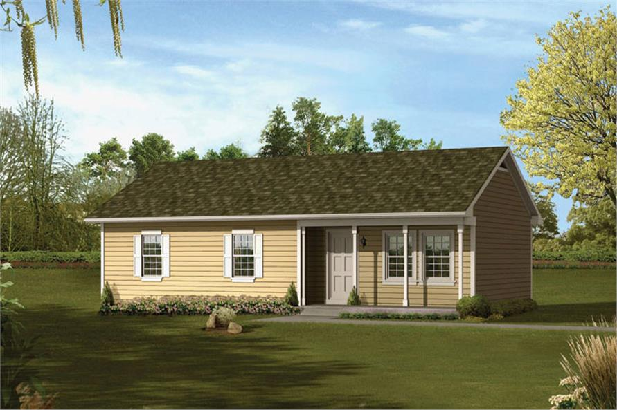 Front elevation of Ranch home (ThePlanCollection: House Plan #138-1021)