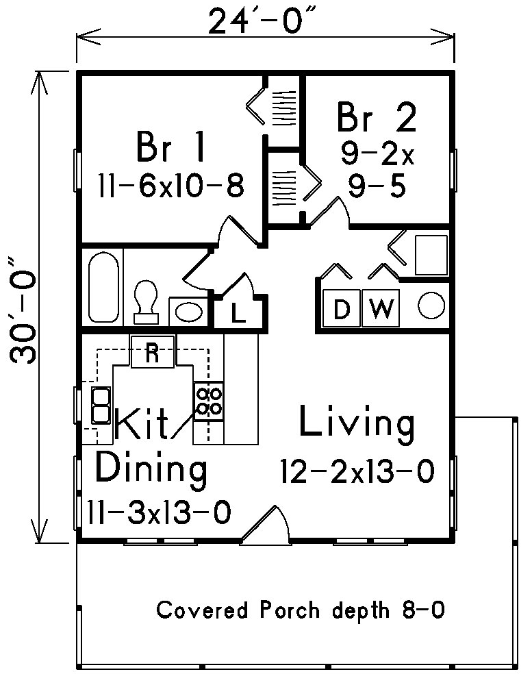 Ranch house plan 138 1022 2 bedrm 720 sq ft home for 720 sq ft apartment floor plan