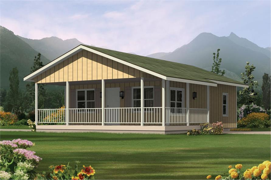 Front elevation of Ranch home (ThePlanCollection: House Plan #138-1022)