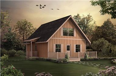 3-Bedroom, 1154 Sq Ft A Frame House Plan - 138-1023 - Front Exterior