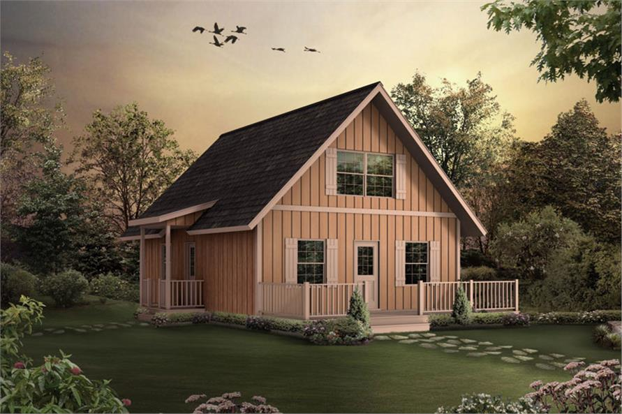 Front elevation of A Frame home (ThePlanCollection: House Plan #138-1023)