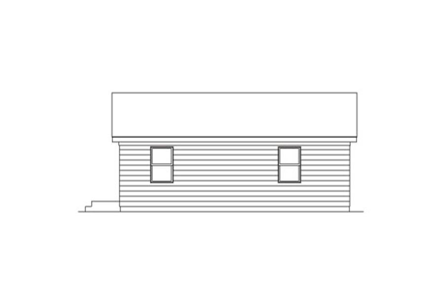 Home Plan Rear Elevation of this 2-Bedroom,800 Sq Ft Plan -138-1024