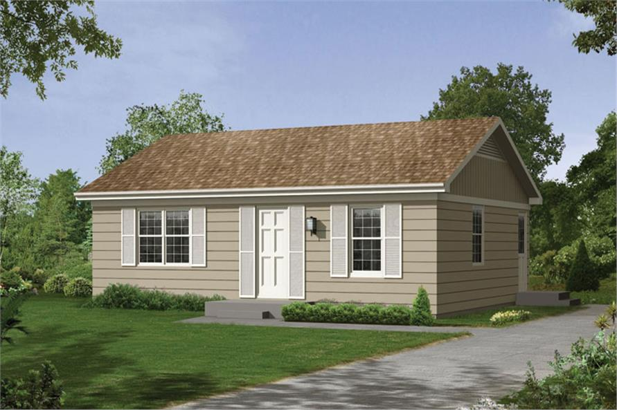 2-Bedroom, 800 Sq Ft Ranch House Plan - 138-1024 - Front Exterior