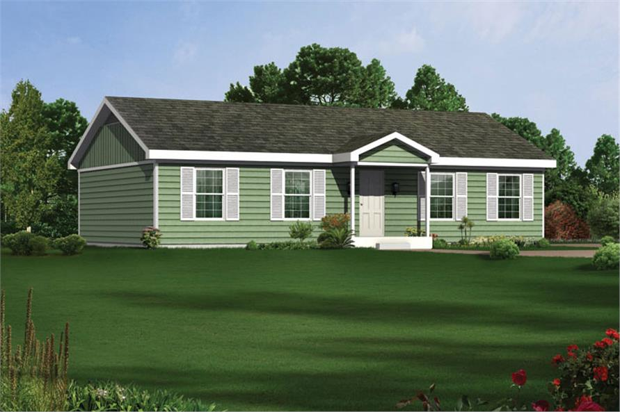 Front elevation of Ranch home (ThePlanCollection: House Plan #138-1025)