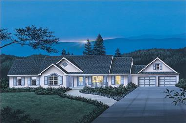 3-Bedroom, 1708 Sq Ft Country Home Plan - 138-1027 - Main Exterior