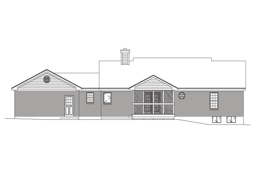 138-1031: Home Plan Rear Elevation