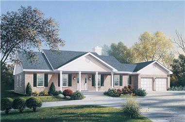3-Bedroom, 1674 Sq Ft Ranch Home Plan - 138-1031 - Main Exterior