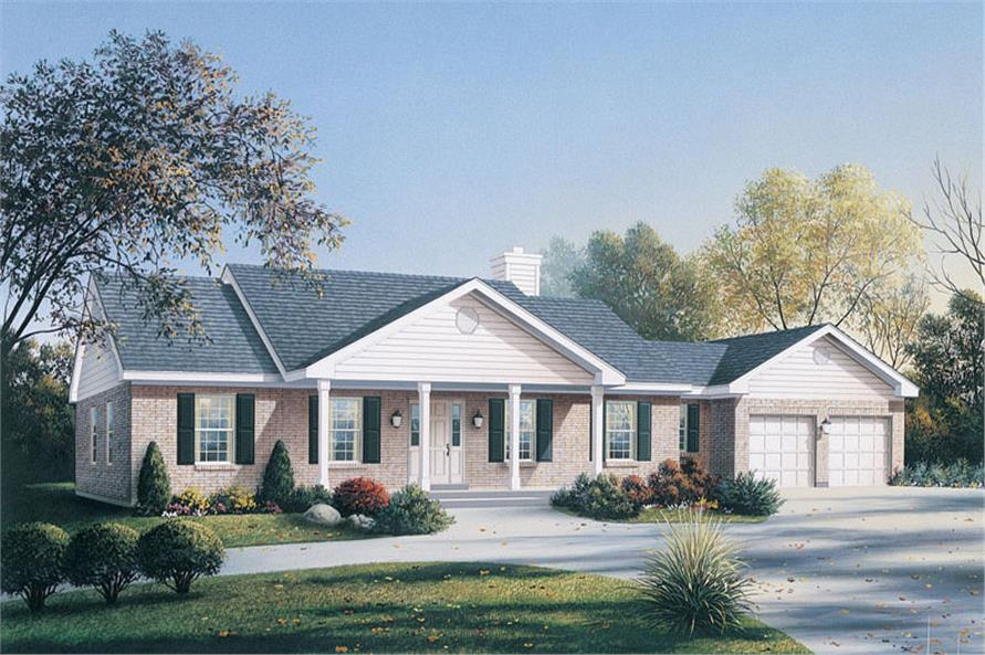 Front elevation of Ranch home (ThePlanCollection: House Plan #138-1031)