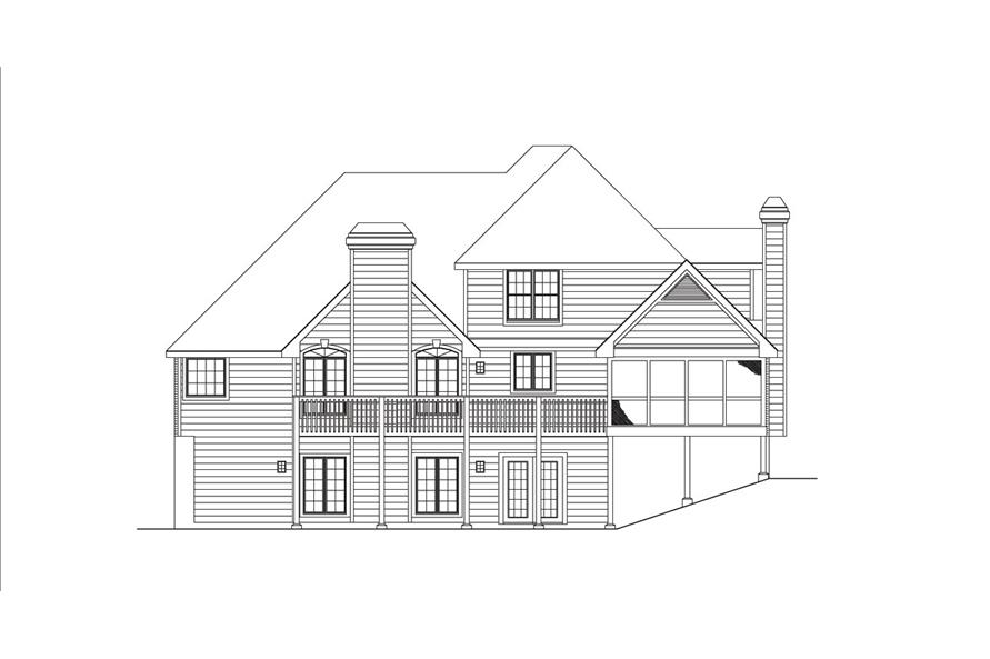 138-1032: Home Plan Rear Elevation