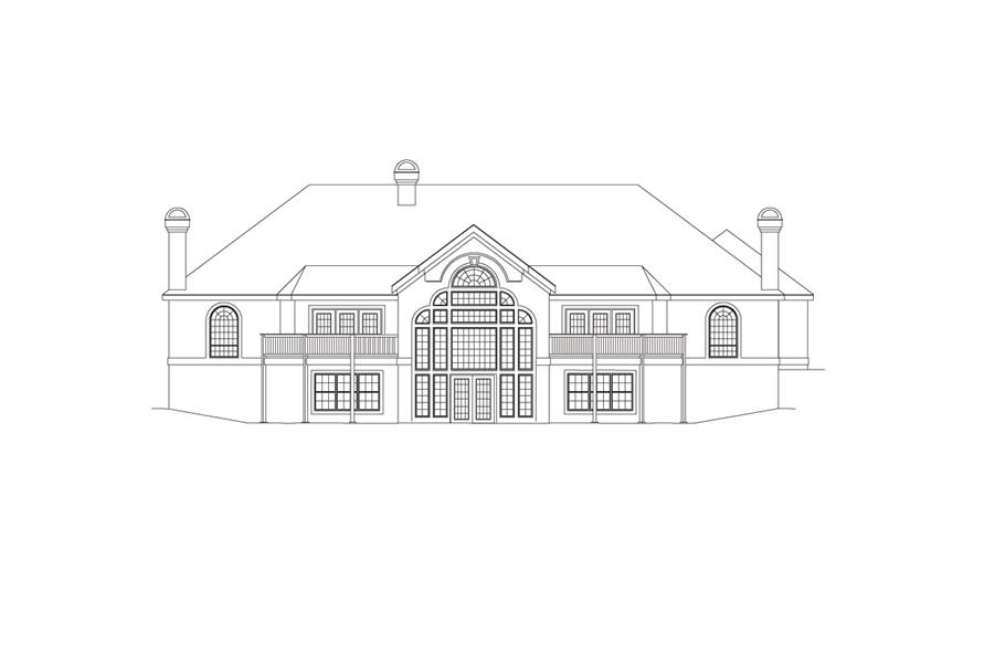 138-1033: Home Plan Rear Elevation