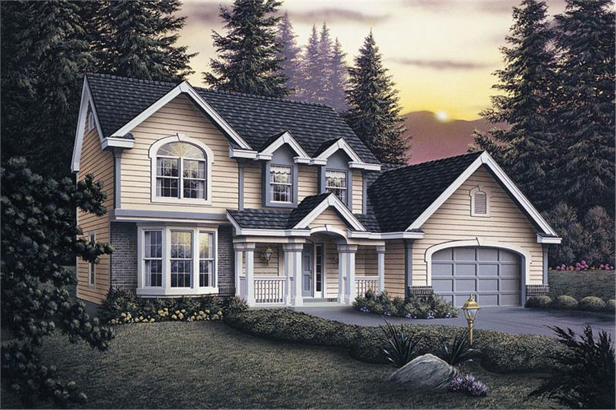Front elevation of Traditional home (ThePlanCollection: House Plan #138-1034)