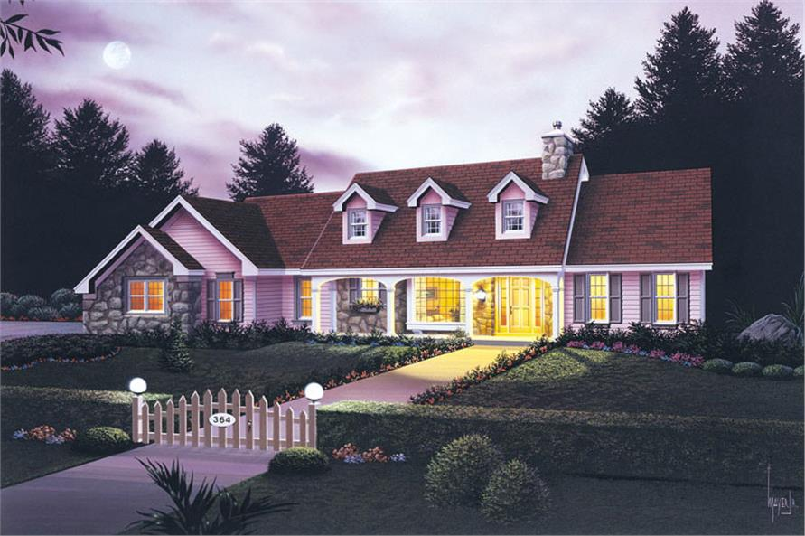 Front elevation of Traditional home (ThePlanCollection: House Plan #138-1035)