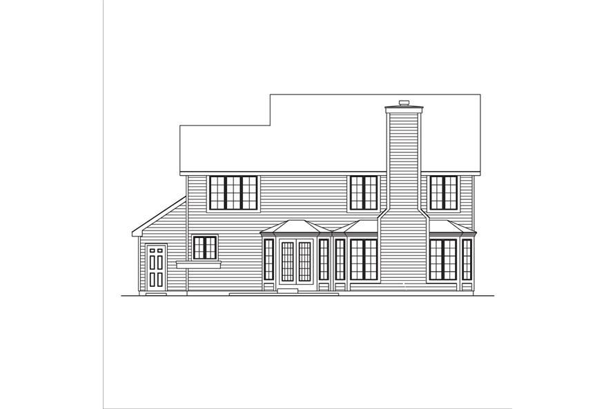 138-1036: Home Plan Rear Elevation