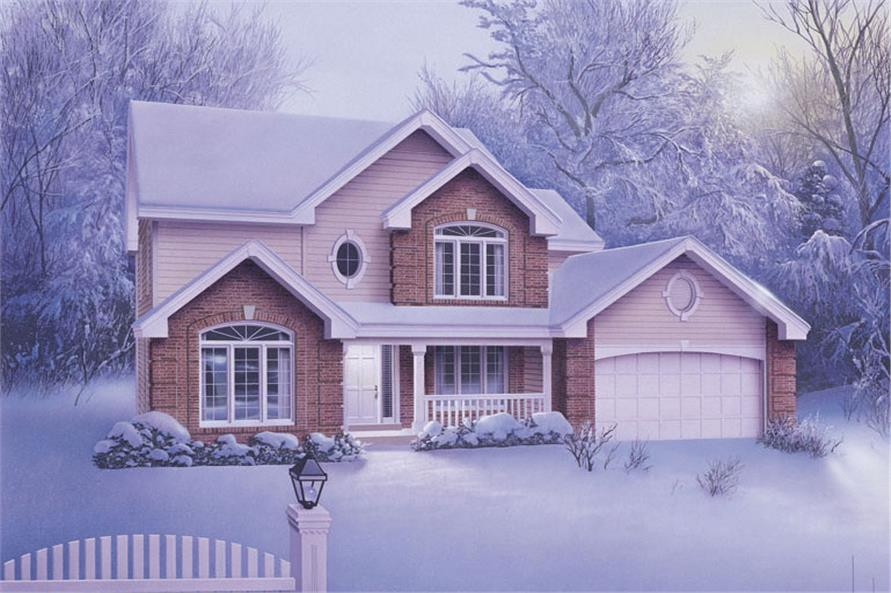 Front elevation of Traditional home (ThePlanCollection: House Plan #138-1036)