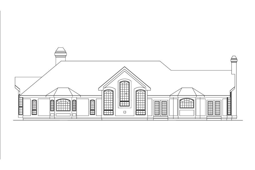 138-1038: Home Plan Rear Elevation