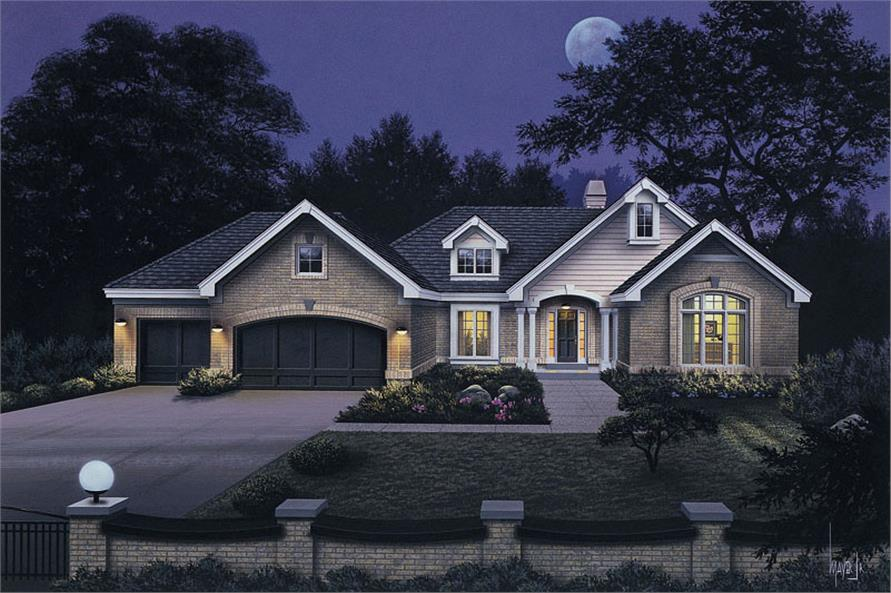 Front elevation of Ranch home (ThePlanCollection: House Plan #138-1039)