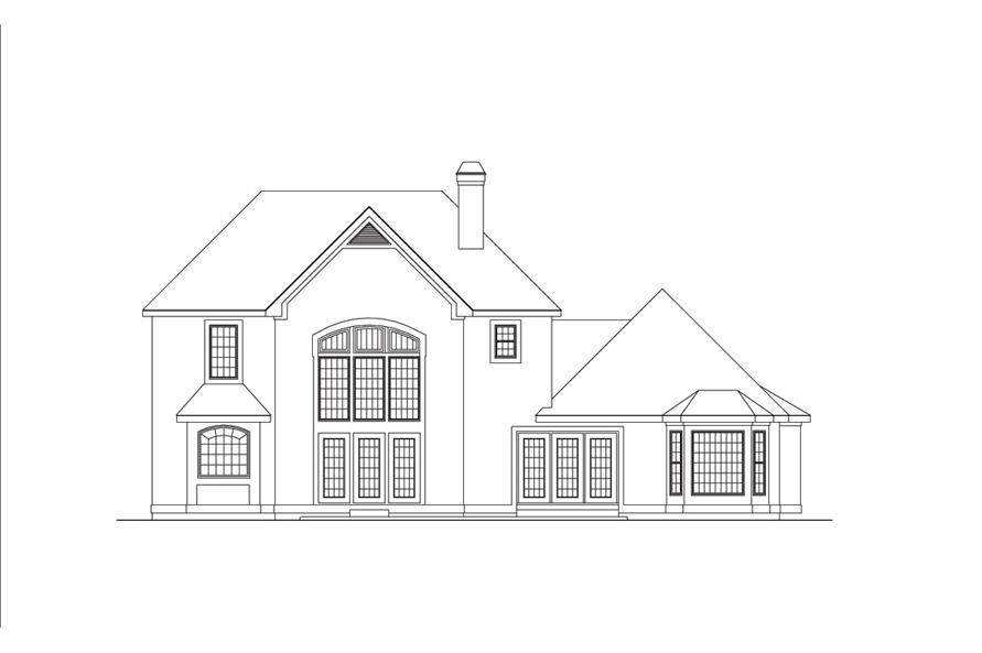 Home Plan Rear Elevation of this 4-Bedroom,2716 Sq Ft Plan -138-1040