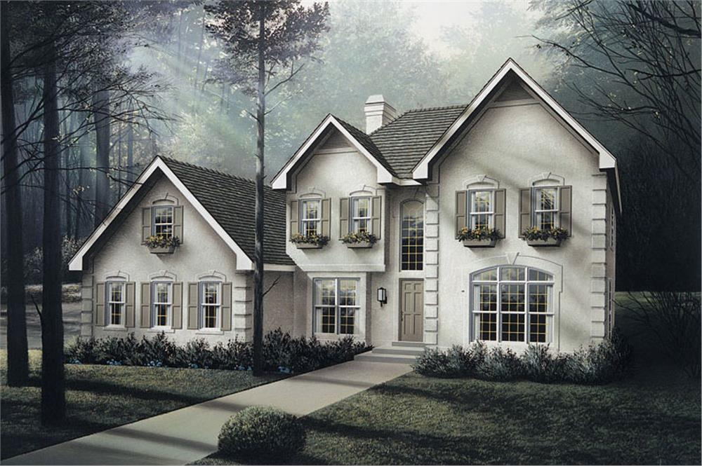 Front elevation of Georgian home (ThePlanCollection: House Plan #138-1040)