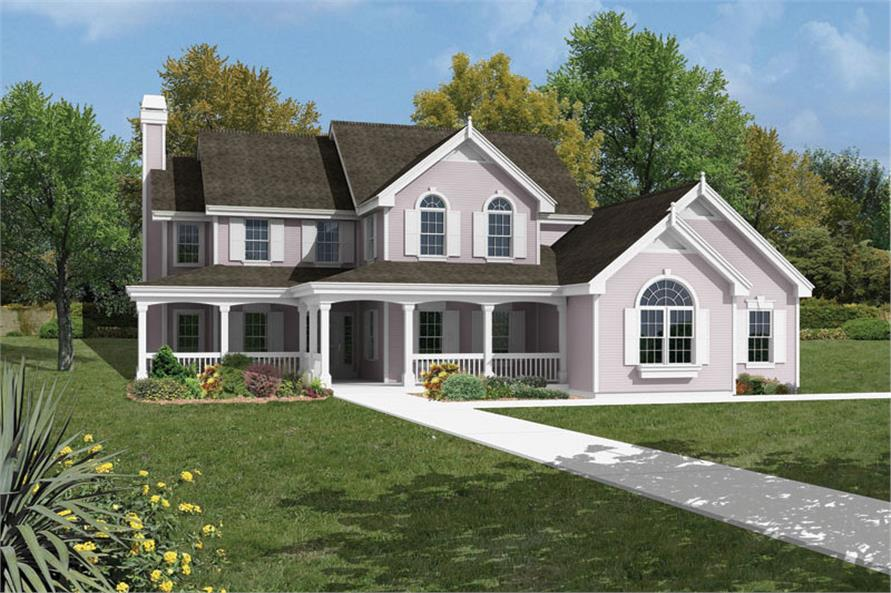 Front elevation of Traditional home (ThePlanCollection: House Plan #138-1042)