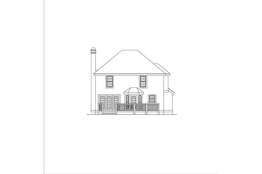 138-1044: Home Plan Rear Elevation