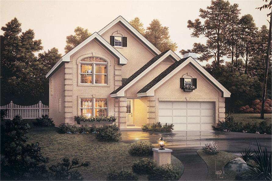 Front elevation of Traditional home (ThePlanCollection: House Plan #138-1045)