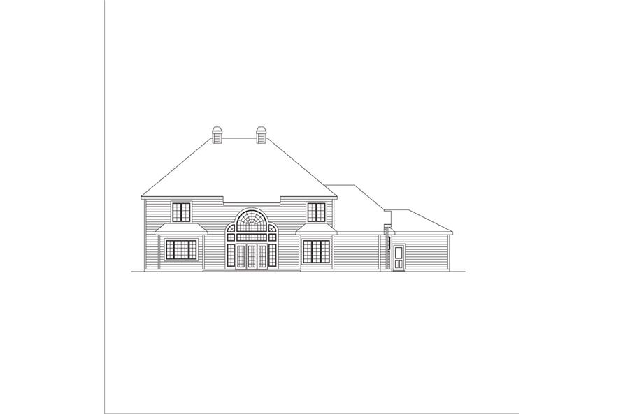 138-1047: Home Plan Rear Elevation