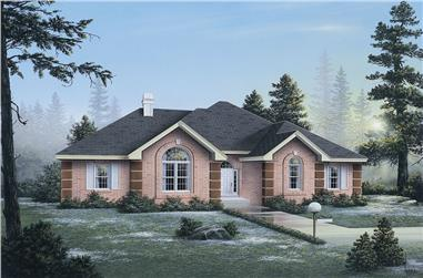 Front elevation of Ranch home (ThePlanCollection: House Plan #138-1048)