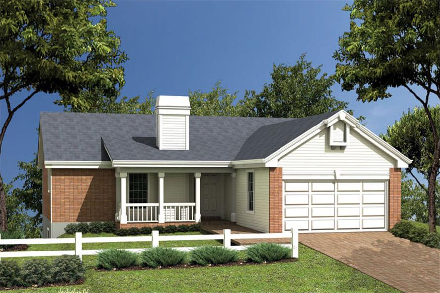 Front elevation of Ranch home (ThePlanCollection: House Plan #138-1049)