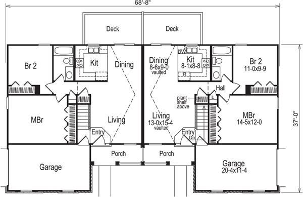 Multi unit house plan 138 1050 4 bedrm 1700 sq ft per for 1700s house plans