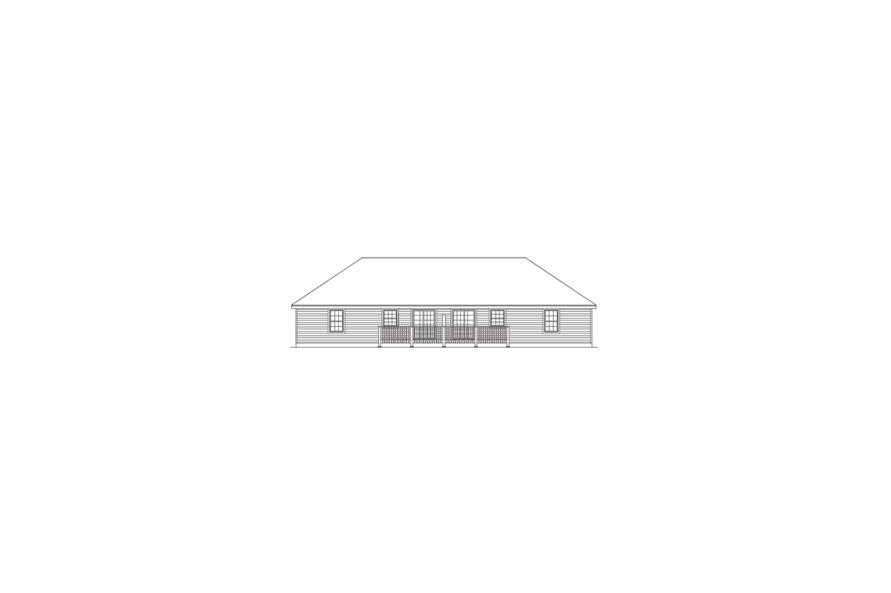 138-1050: Home Plan Rear Elevation