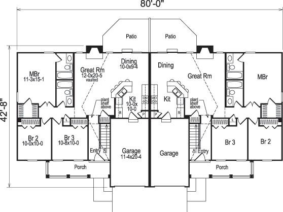 Multi unit house plan 138 1051 6 bedrm 2318 sq ft per for Multi unit home plans