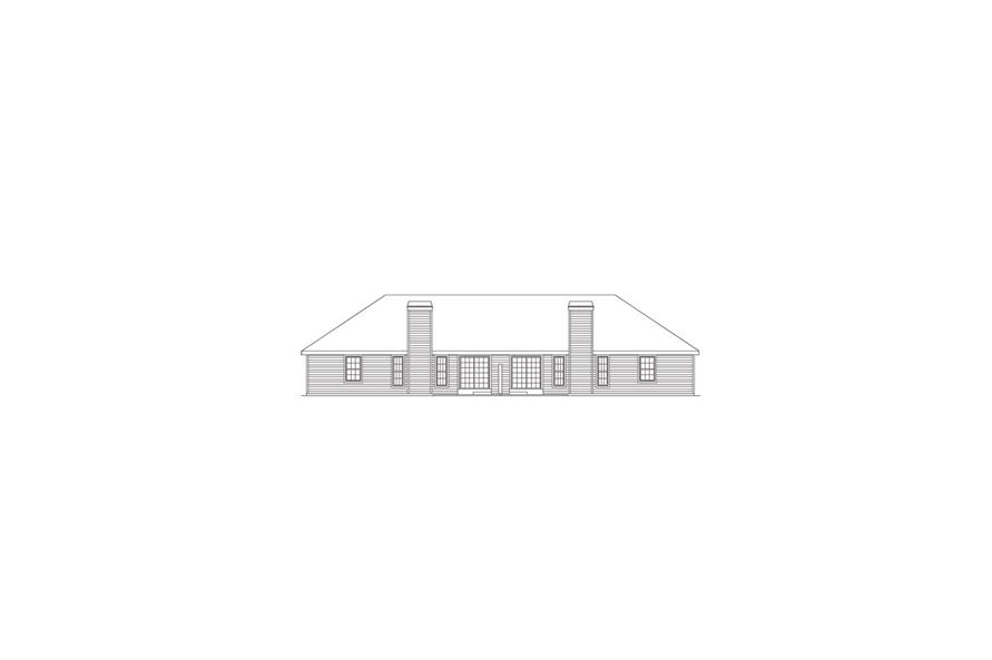 138-1051: Home Plan Rear Elevation
