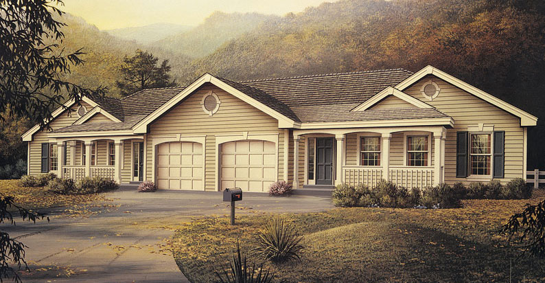 Multi unit house plan 138 1051 6 bedrm 2318 sq ft per for Sq ft of 2 car garage