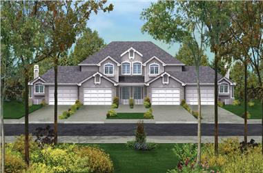 Front elevation of Multi-Unit home (ThePlanCollection: House Plan #138-1054)
