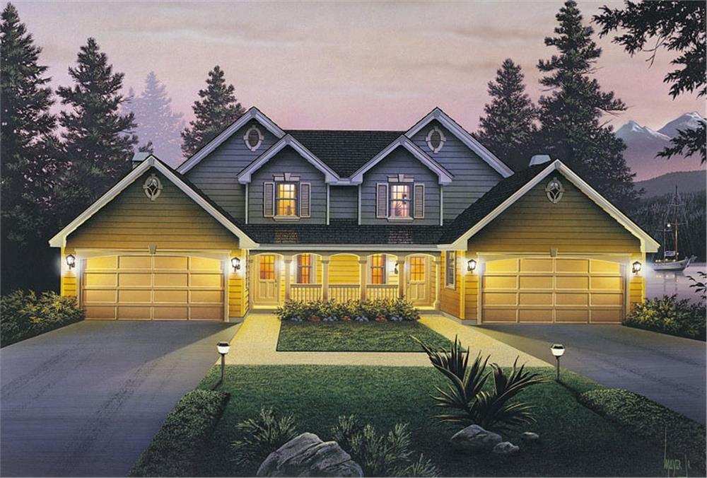 Front elevation of Multi-Unit home (ThePlanCollection: House Plan #138-1055)