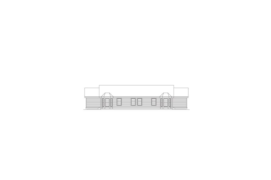 Home Plan Rear Elevation of this 4-Bedroom,1704 Sq Ft Plan -138-1057