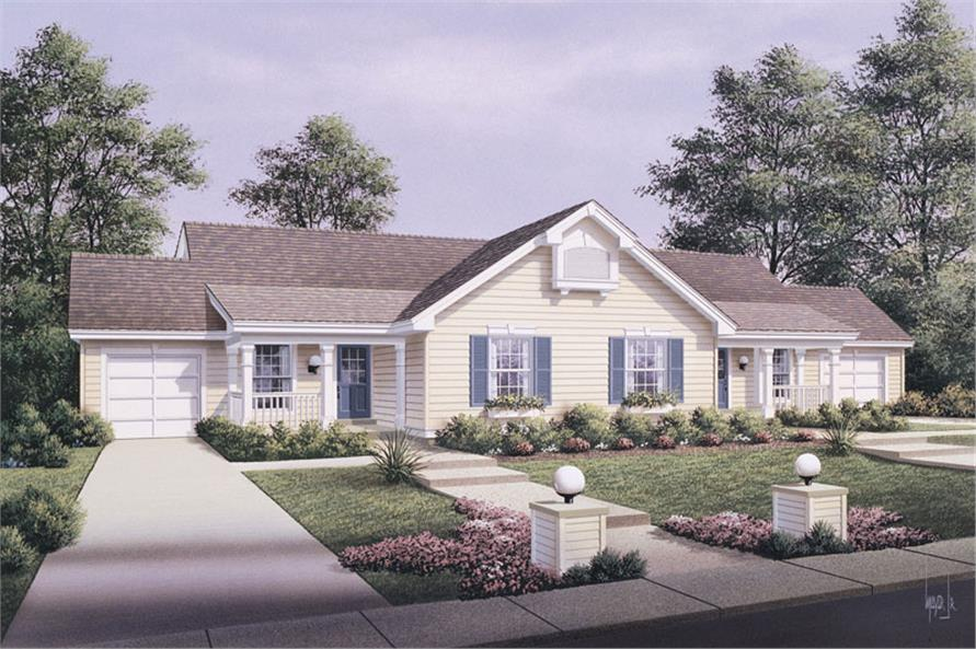 Front elevation of Multi-Unit home (ThePlanCollection: House Plan #138-1057)