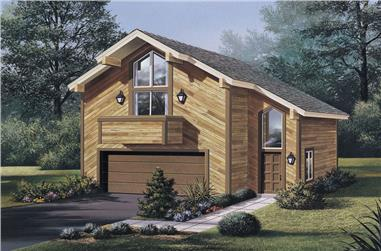 1-Bedroom, 654 Sq Ft Small House Plans - 138-1058 - Front Exterior