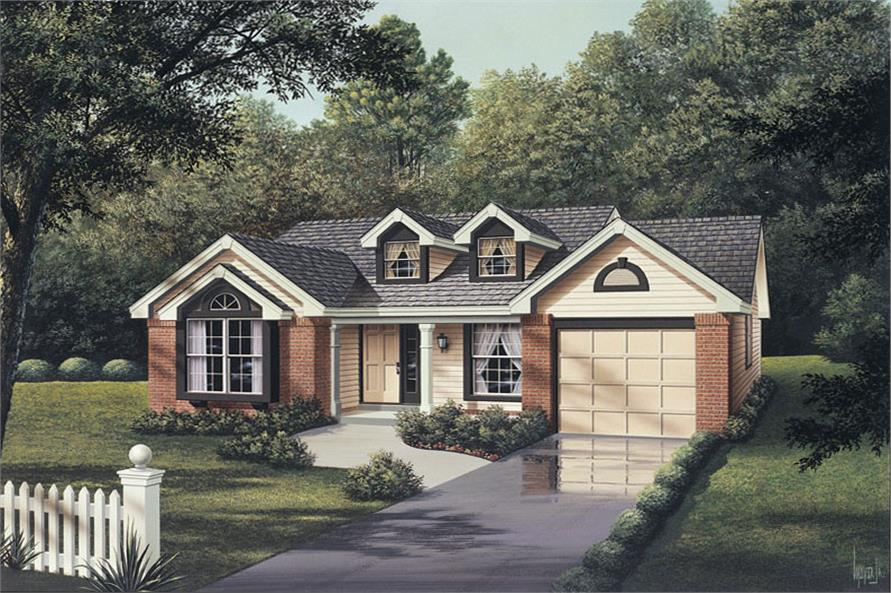 Front elevation of Ranch home (ThePlanCollection: House Plan #138-1062)