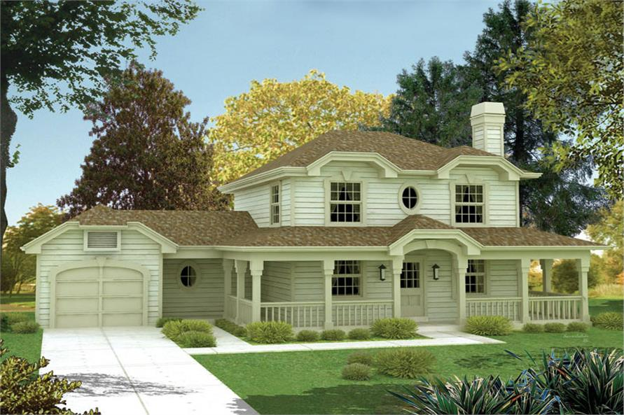 Front elevation of Country home (ThePlanCollection: House Plan #138-1064)