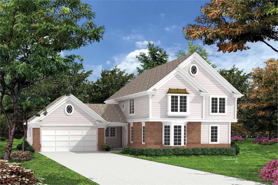 5-Bedroom, 2012 Sq Ft Traditional Home Plan - 138-1065 - Main Exterior