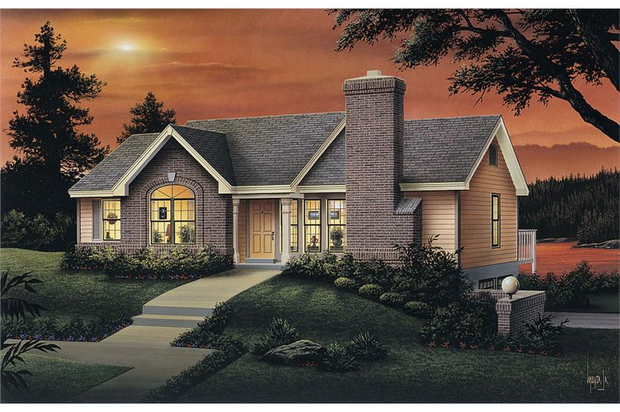 Front elevation of Ranch home (ThePlanCollection: House Plan #138-1068)