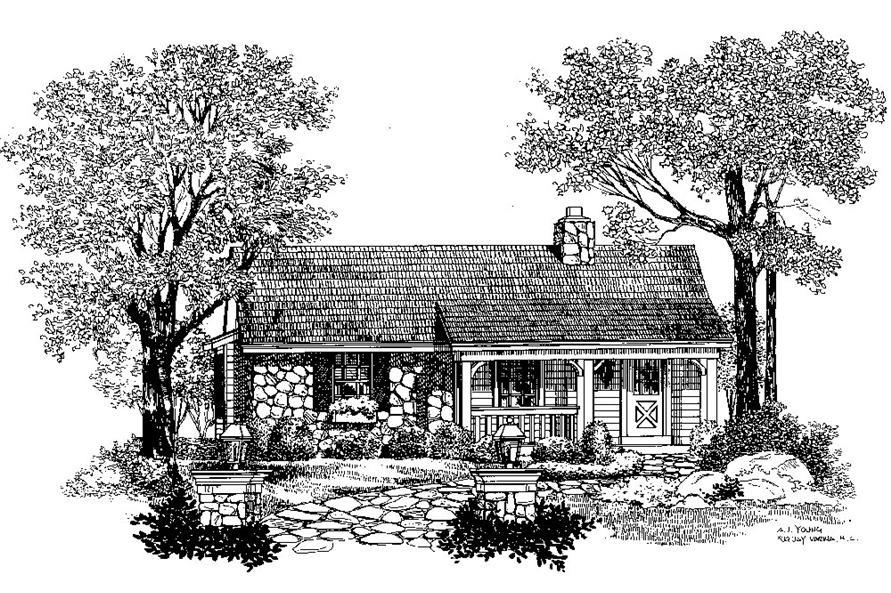 Home Plan Rendering of this 1-Bedroom,647 Sq Ft Plan -647