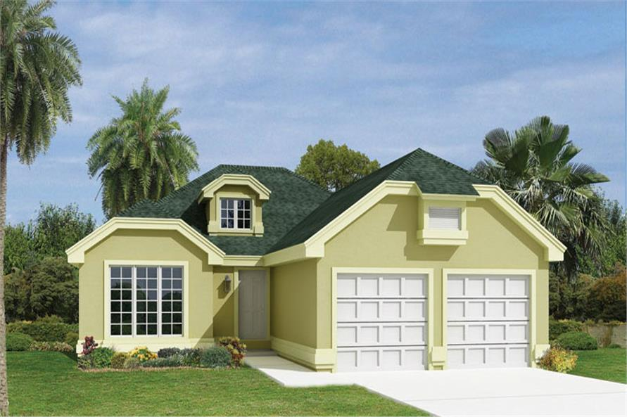 Front elevation of Ranch home (ThePlanCollection: House Plan #138-1074)