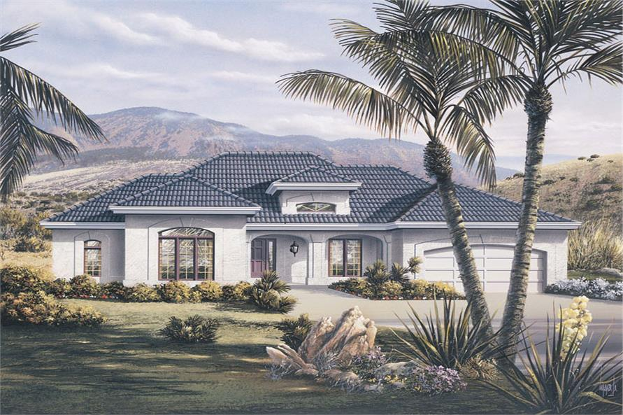 Front elevation of Ranch home (ThePlanCollection: House Plan #138-1076)