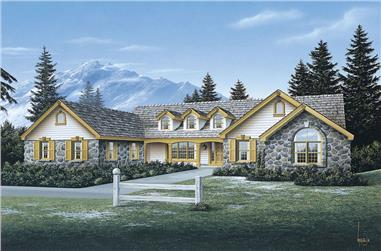 Front elevation of Ranch home (ThePlanCollection: House Plan #138-1078)
